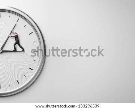 Businessman trying to stop time and place for text