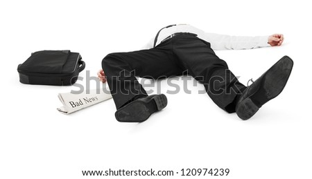 Businessman unconscious because of bad news