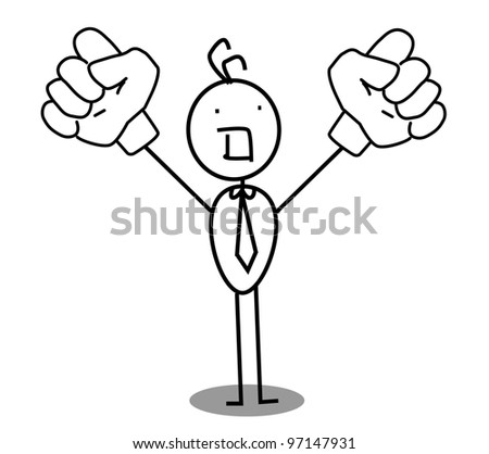 businessman up two hand raised