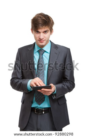 businessman use calculator, handsome young business man standing smile looking at camera, wear elegant suit and tie isolated over white background