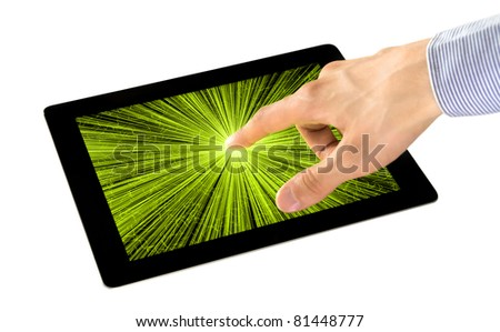 Businessman uses an interactive application on tablet pc. Isolated on white.