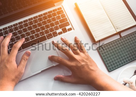 businessman using computer with ...