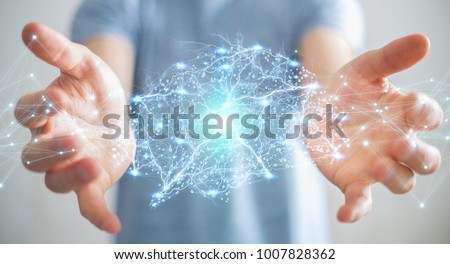 Photo of  Businessman using digital x-ray human brain interface with cell and neurons activity 3D rendering