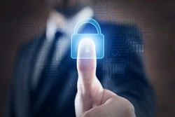 Businessman using fingerprint protection for data access, closeup