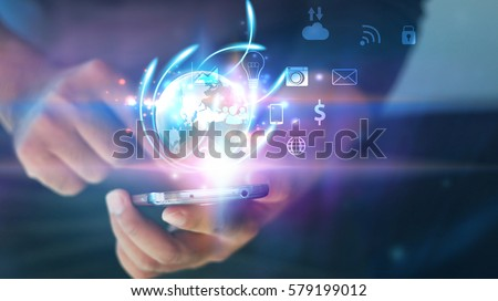 Businessman using mobile smartphone. Application icons interface on screen. Social media concept
