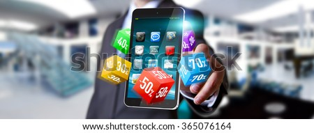 Businessman using modern application to shop online during sales