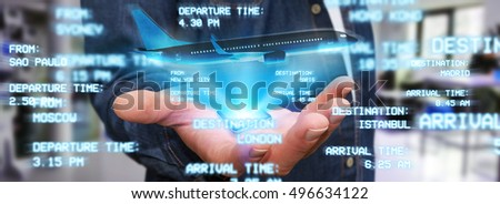 Businessman using modern mobile phone to book a flight 3D rendering #496634122