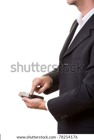 Businessman using modern smartphone isolated on white