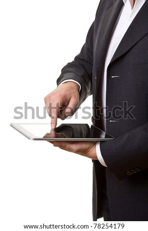 Businessman using modern tablet pc isolated on white