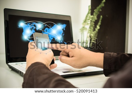businessman using smartphone upload data to online store Documentation over blurred Distributed threat information to clients for customer network connection.digital technology.select focus.sepia tone