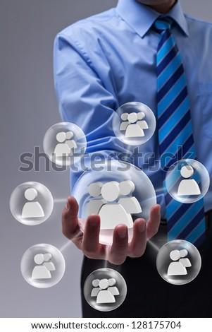 Businessman using social networking as a marketing tool