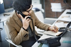 Businessman Using Telephone Communication Note Concept