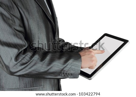 Businessman using touch screen device on white background