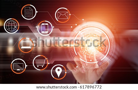 Businessman using touching circle global network payments online shopping and icon customer connection on virtual screen, m-banking, multichannel and omni channel