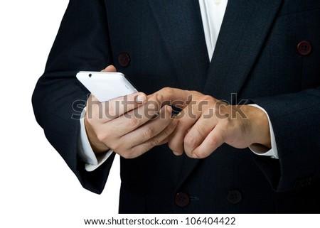 Businessman using white smart phone