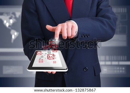 businessman using wireless technology with a computer device