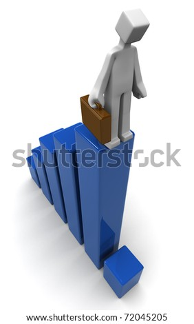 Businessman very sad  looking at the latest financial chart 3d illustration