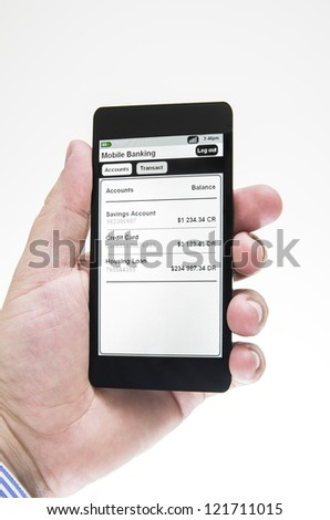 Businessman views mobile banking details