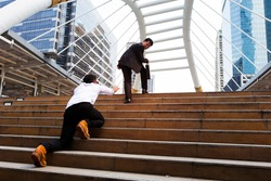 Businessman walk on the stairway to the target, opportunities,someone  follow ,inspiration concept