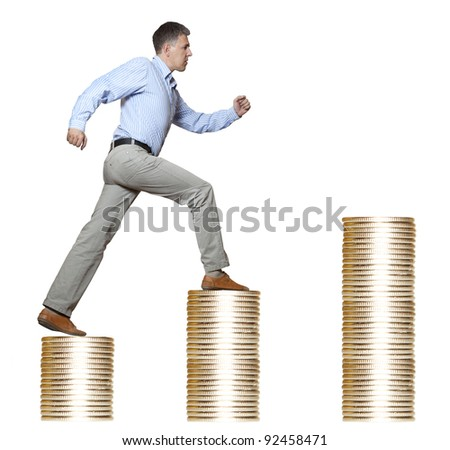 businessman walking money upstairs