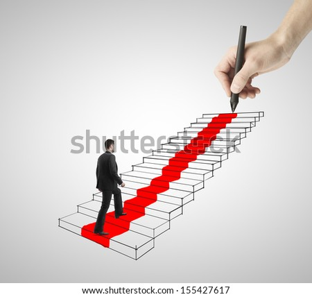 businessman walking on drawing ladder with red carpet