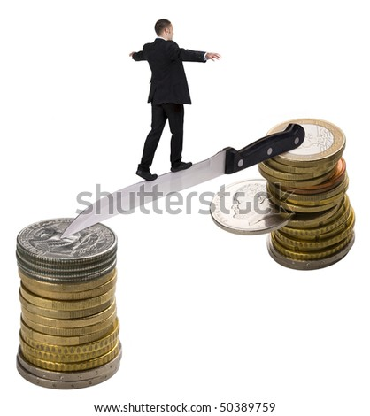 businessman walking on knife. Holding balance. Walk away from the dollar to the euro. Euro collapses because of Greek coin.