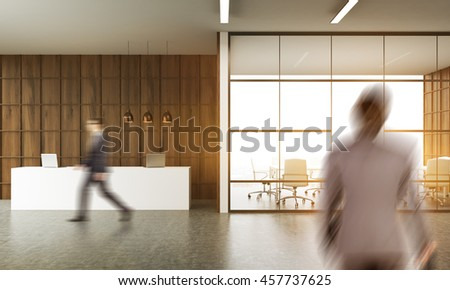 Businessman walking past reception. Another one standing in office corridor. Waiting room with glass wall in background. Wooden wall. Concept of busy office. 3d rendering.
