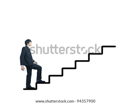 Businessman walking to success