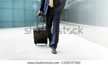 Businessman walking with his luggage