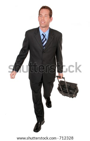 businessman walks towards you on white