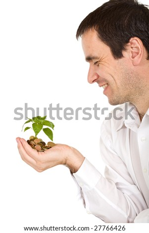 Businessman watching his investment growing - isolated