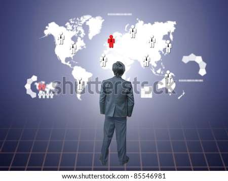 Businessman watching social map