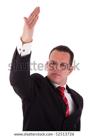 businessman waving, isolated on white background, studio shot