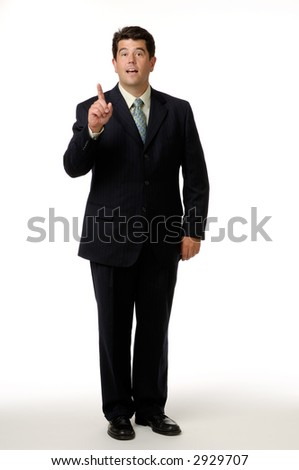 Businessman wearing a black suit and photographed on a white background.