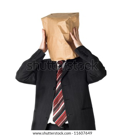 businessman wearing a paper bag