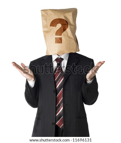 businessman wearing  a paper bag on his had