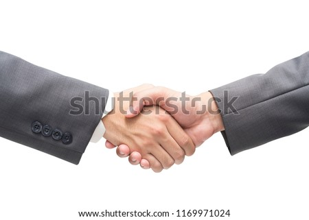 Businessman Wearing Black Suit Business Handshake on isolated background