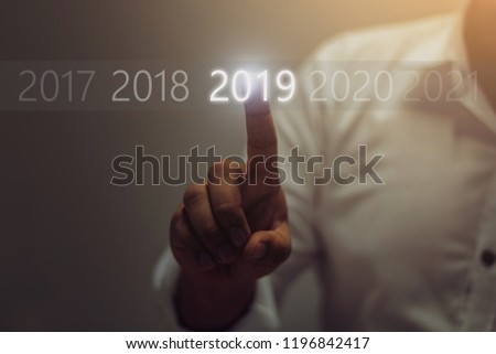 Businessman welcome year 2019. Business new year card concept / soft focus picture / Vintage concept