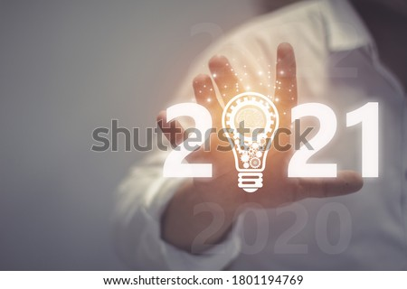 Businessman welcome year 2021. Business new year card concept . soft focus picture . Vintage concept
