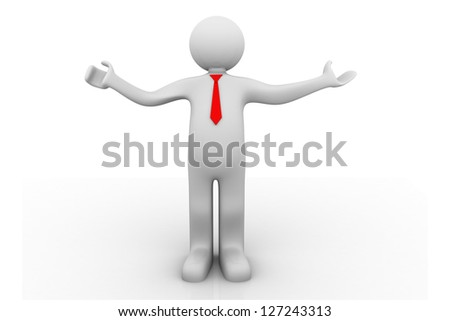 Businessman welcoming with open arm