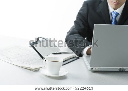 Businessman who uses computer