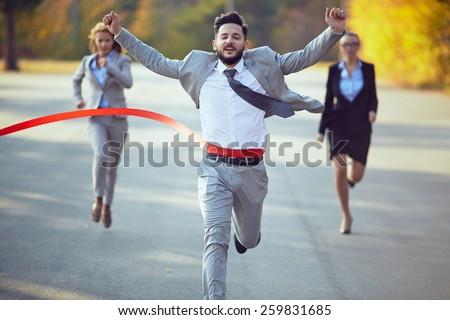 Shutterstock Businessman winning marathon