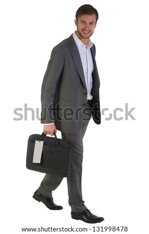 businessman with a bag for the laptop in a hand goes isolated on a white background