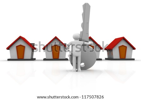 Businessman with a big  key in his hand next to a houses
