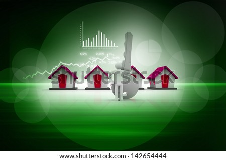 Businessman with a big  key in his hand next to a houses . business background