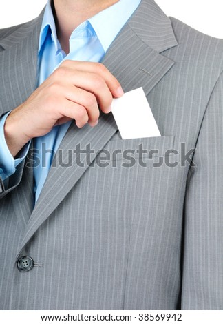 Businessman with a blank business card in his pocket