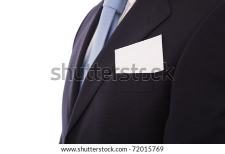 businessman with a blank business card in his pocket, isolated over white