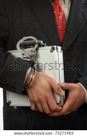 businessman  with a briefcase and handcuffs
