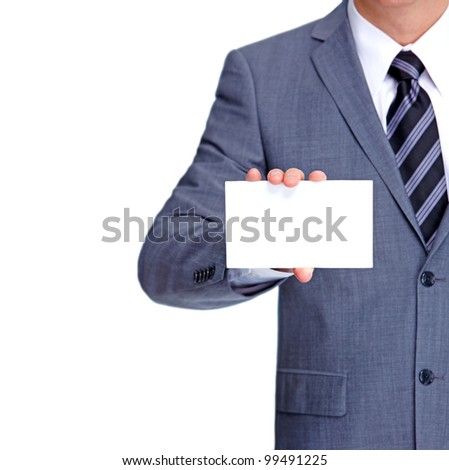 Businessman with a business card. Isolated on white background.
