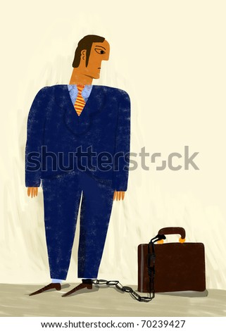 Businessman with a foot chained to a suitcase